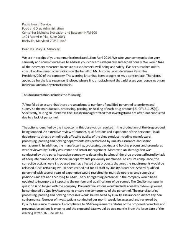 Mock Response to a FDA Warning Letter