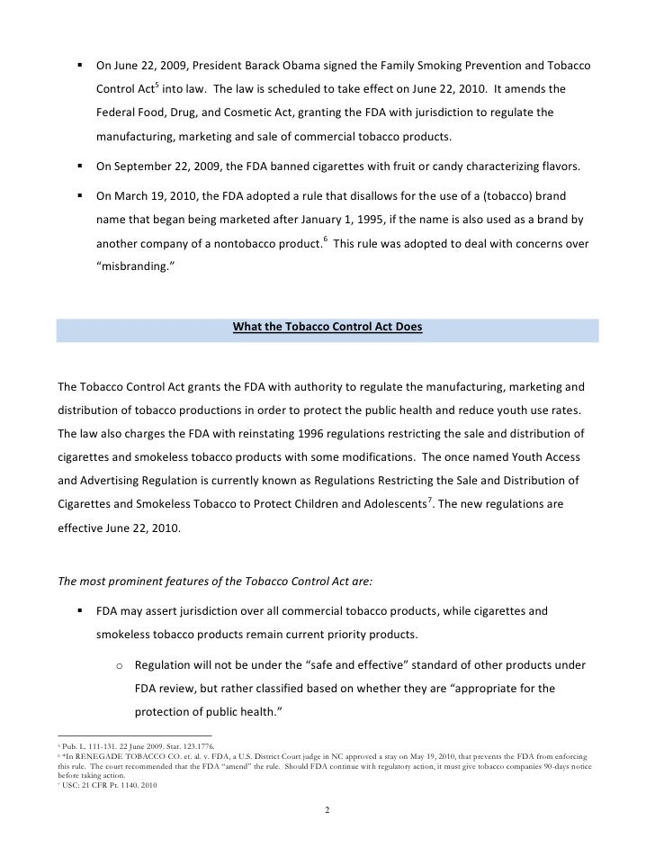 tobacco control act essay Which was made possible by class action suits that ultimately led to legislation such as the tobacco control act, and the fda tobacco  essay on ban on tobacco.