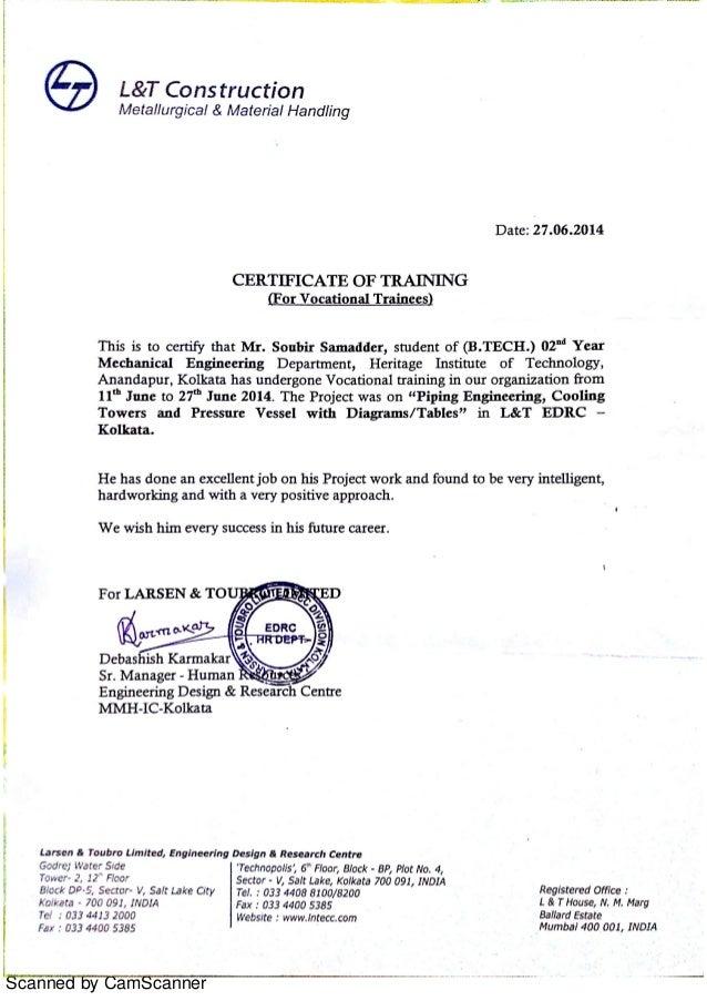 L Amp T Certificate