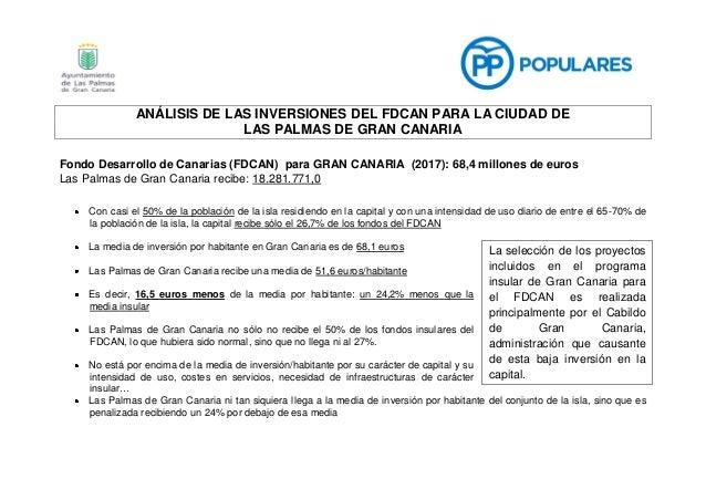 ANÁLISIS DE LAS INVERSIONES DEL FDCAN PARA LA CIUDAD DE LAS PALMAS DE GRAN CANARIA Fondo Desarrollo de Canarias (FDCAN) pa...