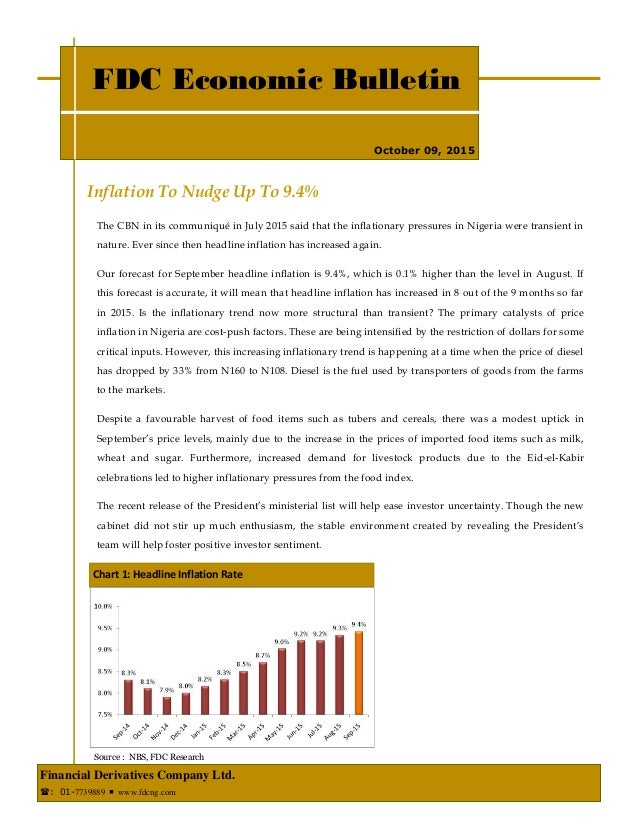 Inflation To Nudge Up To 9.4% FDC Economic Bulletin Financial Derivatives Company Ltd. : 01-7739889  www.fdcng.com Octob...