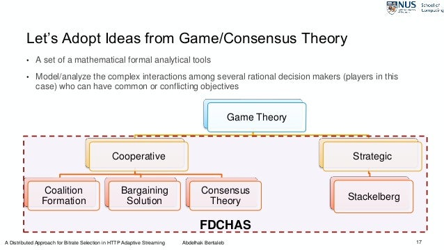 17 Let's Adopt Ideas from Game/Consensus Theory • A set of a mathematical formal analytical tools • Model/analyze the comp...