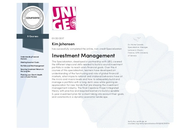 5 Courses Understanding Financial Markets Meeting Investors' Goals Portfolio and Risk Management Securing Investment Retur...