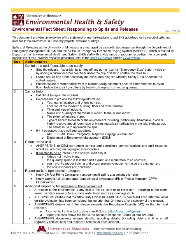 Environmental Fact Sheet: Responding to Spills and Releases | Environmental Health and Safety Room 100 TCEM | 501 23rd Ave...