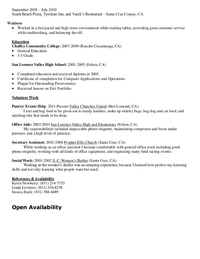 formal resume 2014
