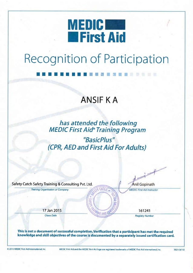 Medic First Aid Certificate Pdf