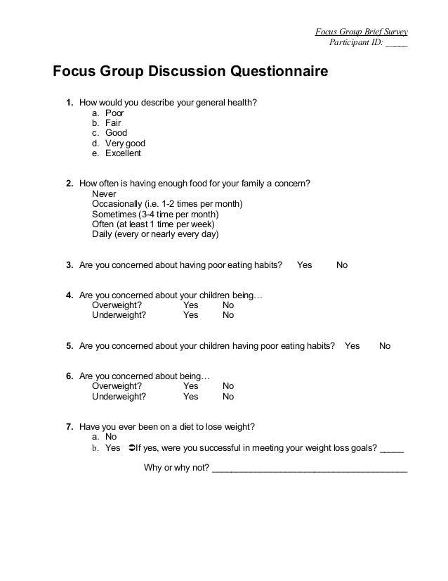 Foccus questionnaire
