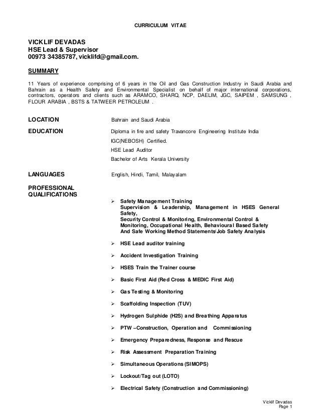 Vicklif Devadas CV-HSE Lead & Supervisor (1)