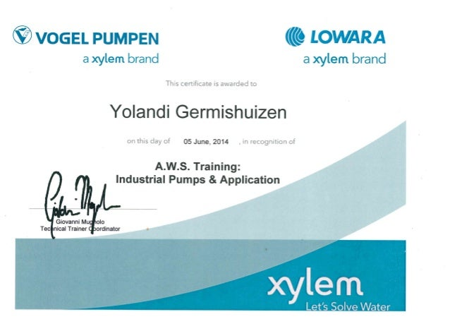 VOGEL AWS TRAINING IDUSTRIAL PUMPS AND APPLICATIONS