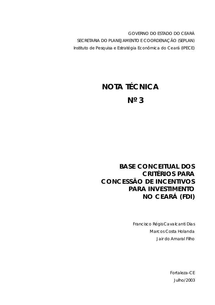 GOVERNO DO ESTADO DO CEARÁ SECRETARIA DO PLANEJAMENTO E COORDENAÇÃO (SEPLAN)Instituto de Pesquisa e Estratégia Econômica d...