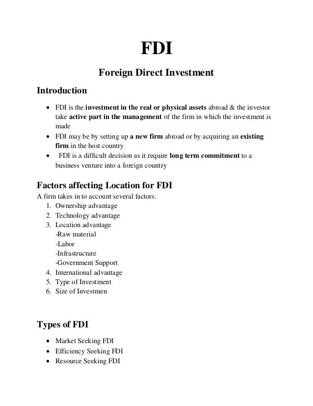 Foreign portfolio investment vs foreign direct investment pd 856 chapter 17 investments