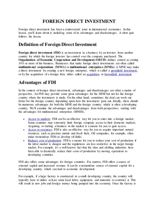 Foreign direct investment definition advantages and disadvantages perlmeter investments with high returns