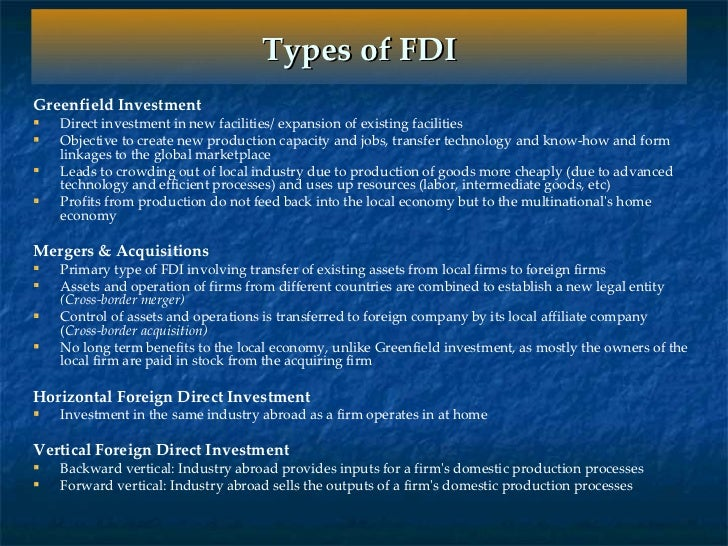 foreign direct investment and cross border acquisitions