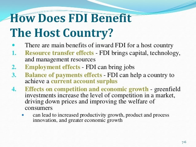 impact of fdi on home and host countries ppt