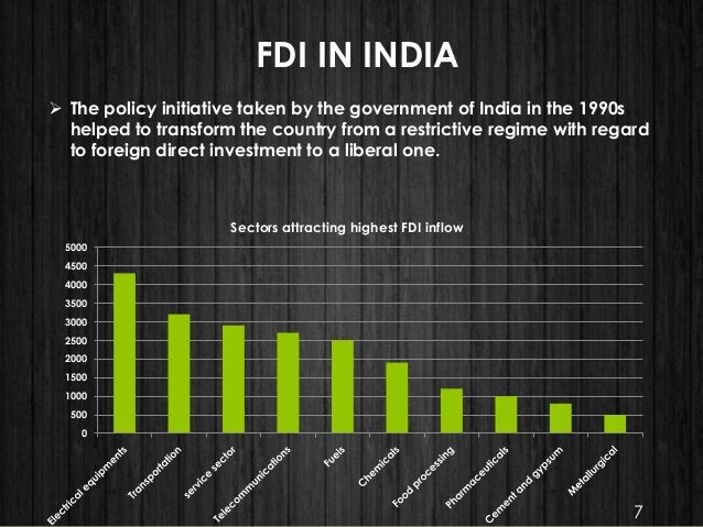 FDI IN INDIA  The policy initiative taken by the government of India in the 1990s helped to transform the country from a ...