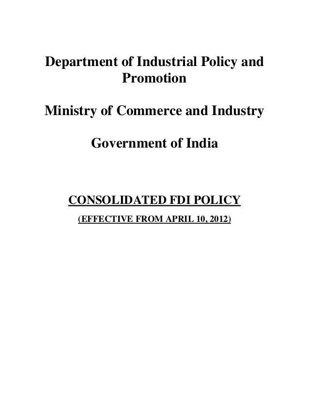 Department of Industrial Policy and           PromotionMinistry of Commerce and Industry       Government of India   CONSO...