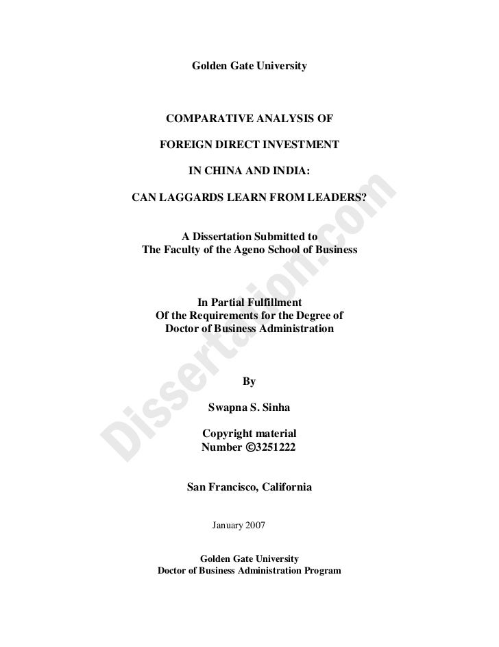 Fdi china dissertation