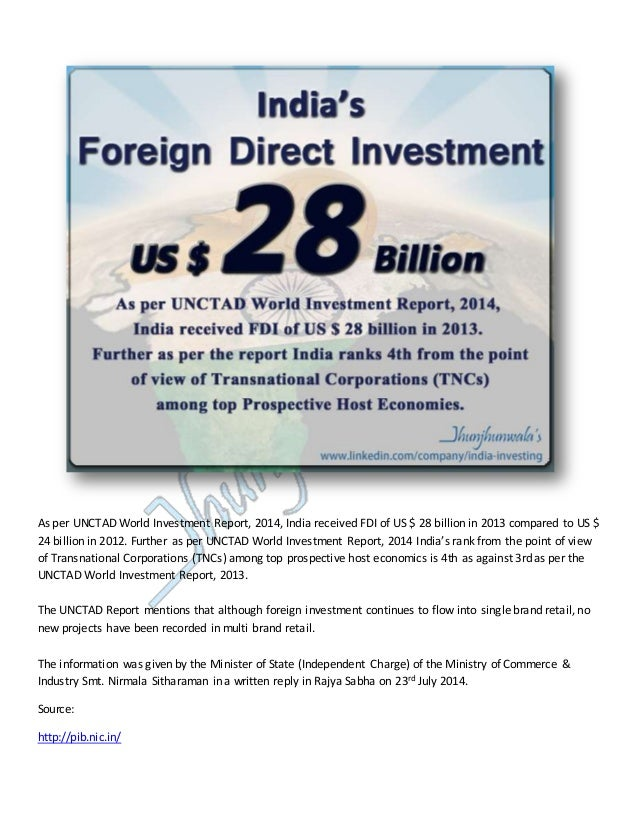 As per UNCTAD World Investment Report, 2014, India received FDI of US $ 28 billion in 2013 compared to US $ 24 billion in ...
