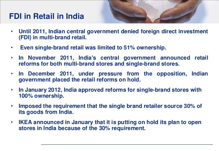 Govt may ease FDI norms for multi-brand retail
