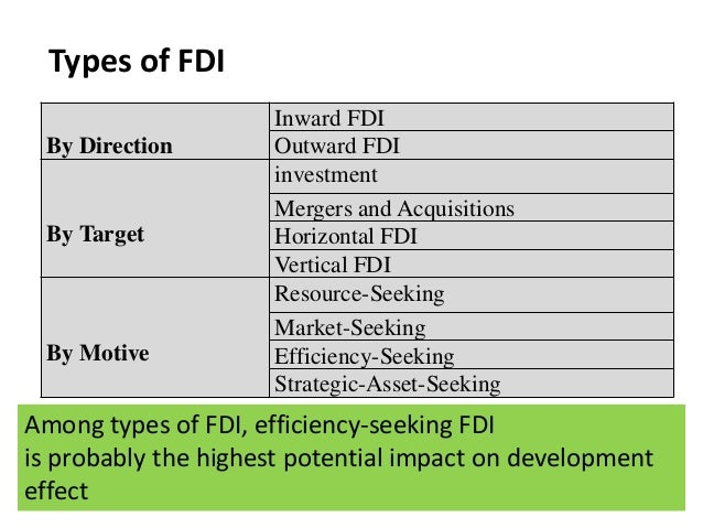 types of fdi targets and motive In explaining the motives driving fdi, economists have typically distinguished   forms of fdi from firm-specific data of multinational enterprises and,  the  acquiring and target firm, up to 44% of all cross-border acquisitions.