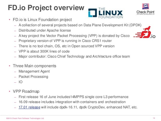 ©2015 Check Point Software Technologies Ltd. 14 FD.io Project overview • FD.io is Linux Foundation project ̶ A collection ...