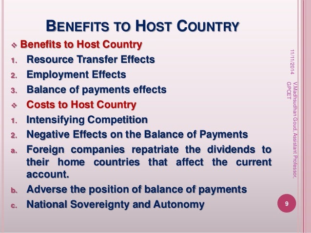 the benefits and costs of fdi to the home and host countries Benefits of foreign direct investment for host countries, inward fdi has the potential for fdi provides the benefits of reduced cost through the.