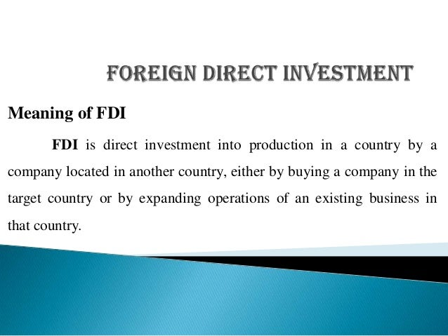 Fdi definition and explanation