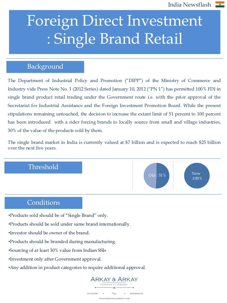 India Newsflash         Foreign Direct Investment            : Single Brand Retail         BackgroundThe Department of Ind...