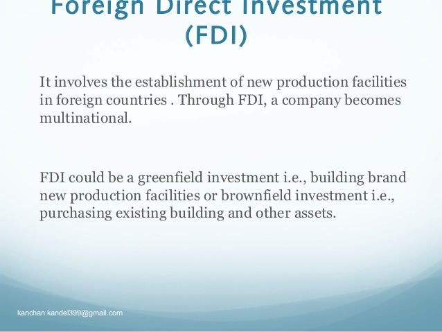fdi vs fpi Fdi fpi investment in productive assets (whose value increase over time) like plant and machinery for a business: investment in financial assets like stocks, bonds, mutual funds, etc.