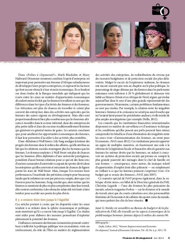 Finances & Développement Juin 2013 9 Dans «Prêtes à s'épanouir?», Mark Blackden et Mary Hallward-Driemeier montrent comb...