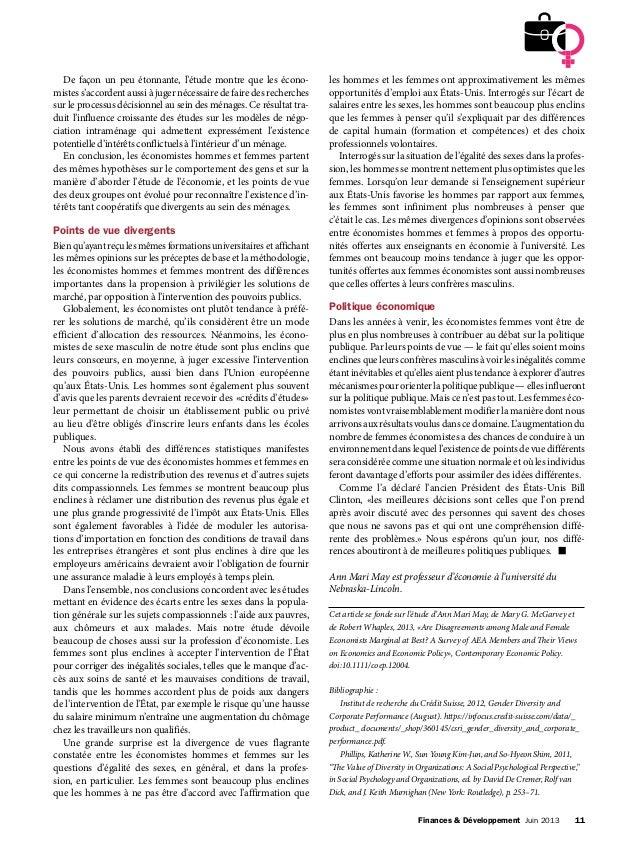 Finances & Développement Juin 2013 11 De façon un peu étonnante, l'étude montre que les écono- mistes s'accordent aussi ...