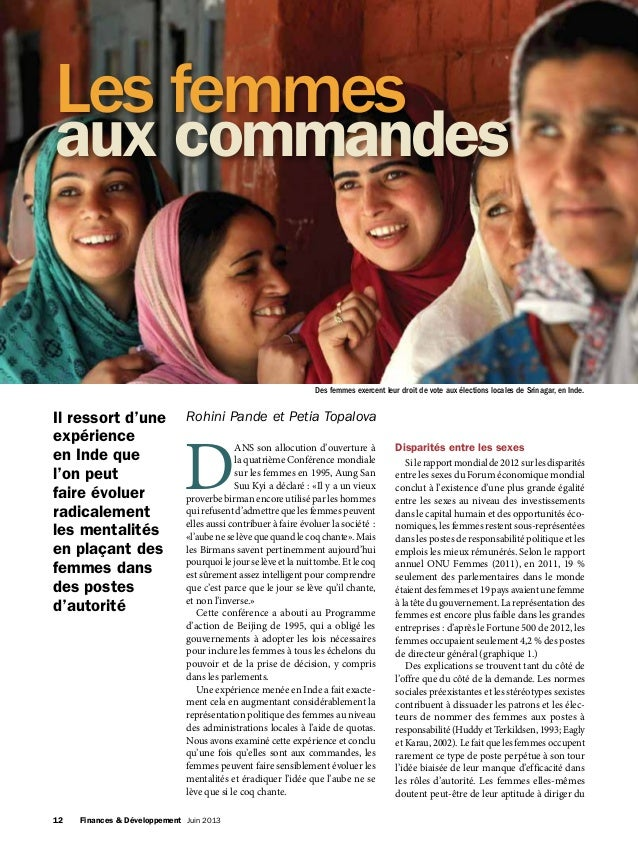 12 Finances & Développement Juin 2013 D ANS son allocution d'ouverture à la quatrième Conférence mondiale sur les femmes...
