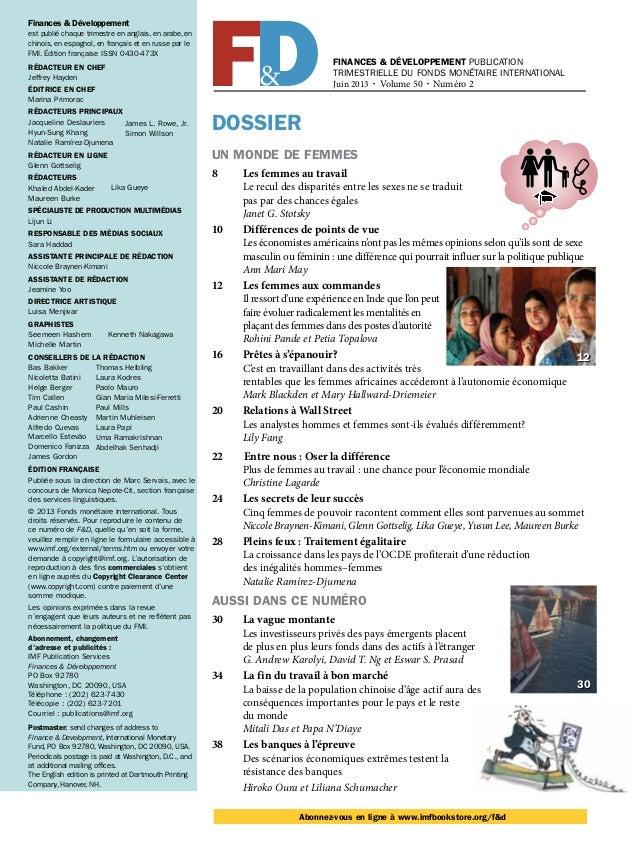 Finances & Développement PUBLICATION TRIMESTRIELLE DU FONDS MONÉTAIRE INTERNATIONAL Juin 2013 • Volume 50 • Numéro 2 DOSSI...