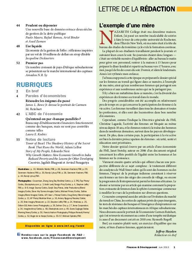 FROM THE EDITOR Finances & Développement Juin 2013 1 LETTRE DE LA RÉDACTION 44 Prudent ou dépensier Une nouvelle base d...
