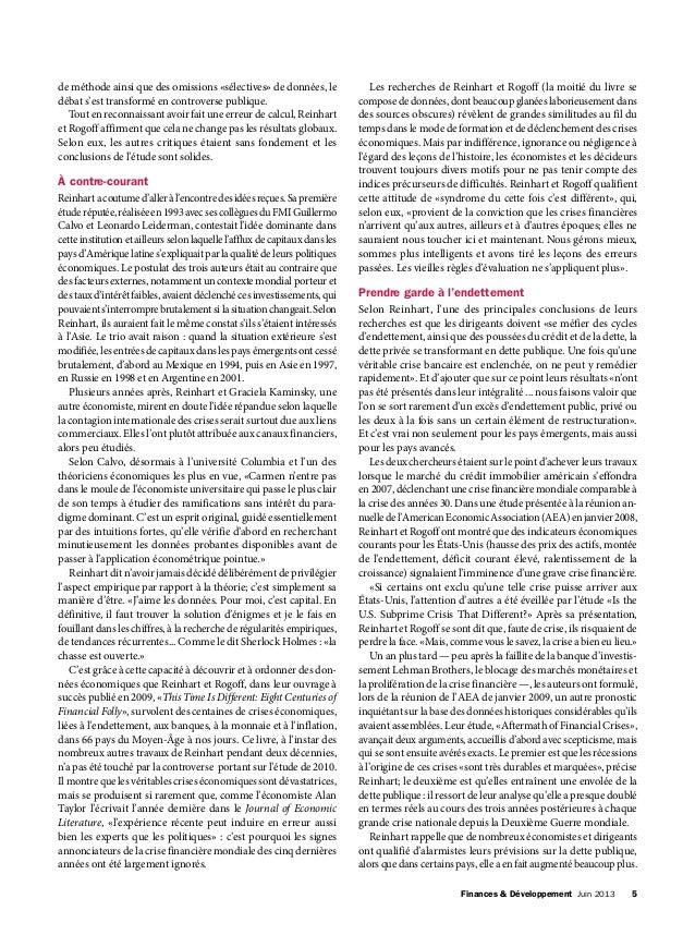 Finances & Développement Juin 2013 5 de méthode ainsi que des omissions «sélectives» de données, le débat s'est transfor...
