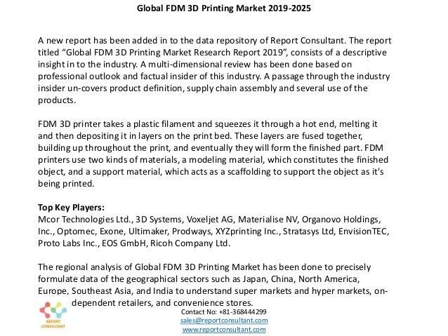 FDM 3D Printing Market 2019