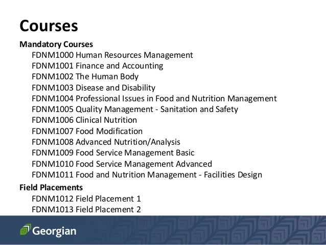 Food and Nutrition Management (FDNM) at Georgian College, Canada