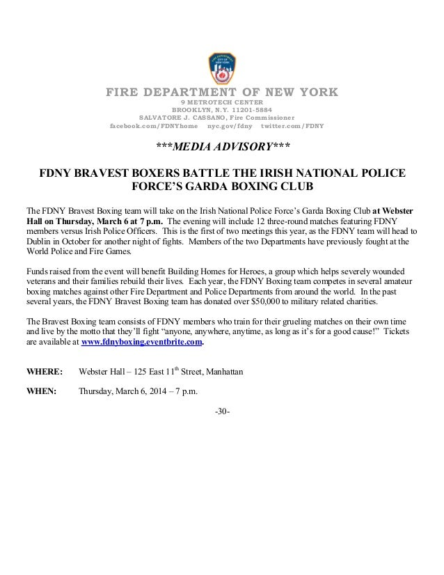 FIRE DEPARTMENT OF NEW YORK 9 METROTECH CENTER BROOKLYN, N.Y. 11201-5884 SALVATORE J. CASSANO, Fire Commissioner facebook....