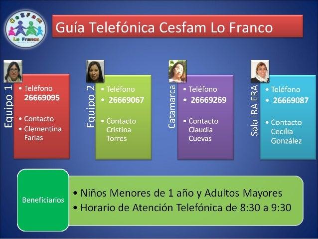 Guía Telefónica Cesfam Lo Franco