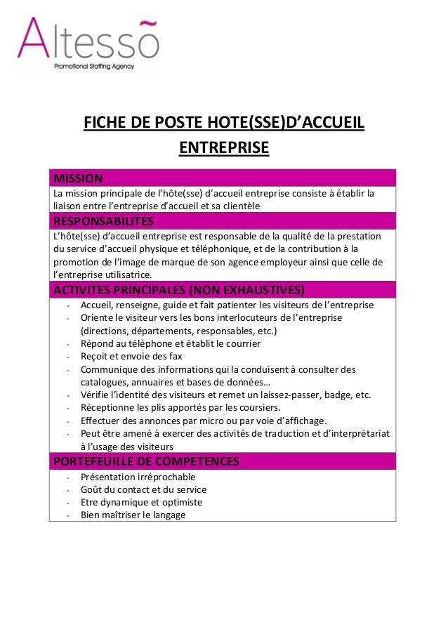Fdp hôtesse d'accueil entreprise altesso maroc