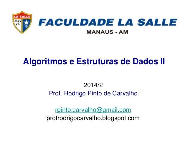 Algoritmos e Estruturas de Dados II 2014/2 Prof. Rodrigo Pinto de Carvalho rpinto.carvalho@gmail.com profrodrigocarvalho.b...