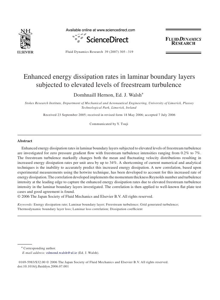 Fluid Dynamics Research 39 (2007) 305 – 319         Enhanced energy dissipation rates in laminar boundary layers        su...
