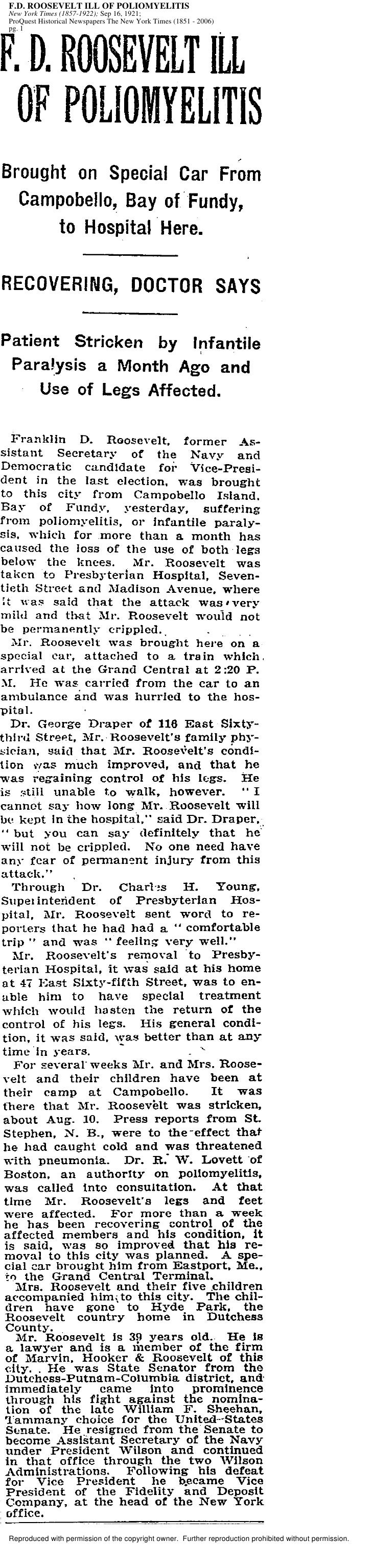 F.D. ROOSEVELT ILL OF POLIOMYELITIS New York Times (1857-1922); Sep 16, 1921; ProQuest Historical Newspapers The New York ...