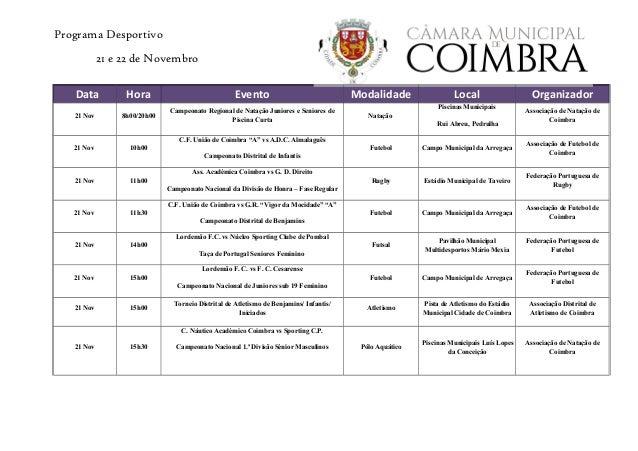 Programa Desportivo 21 e 22 de Novembro Data Hora Evento Modalidade Local Organizador 21 Nov 8h00/20h00 Campeonato Regiona...