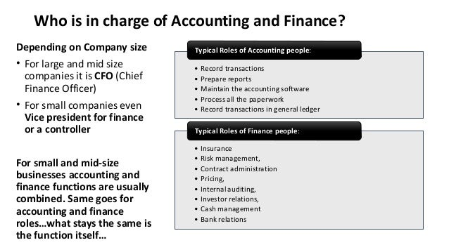 Accounting Department Structure In Brief