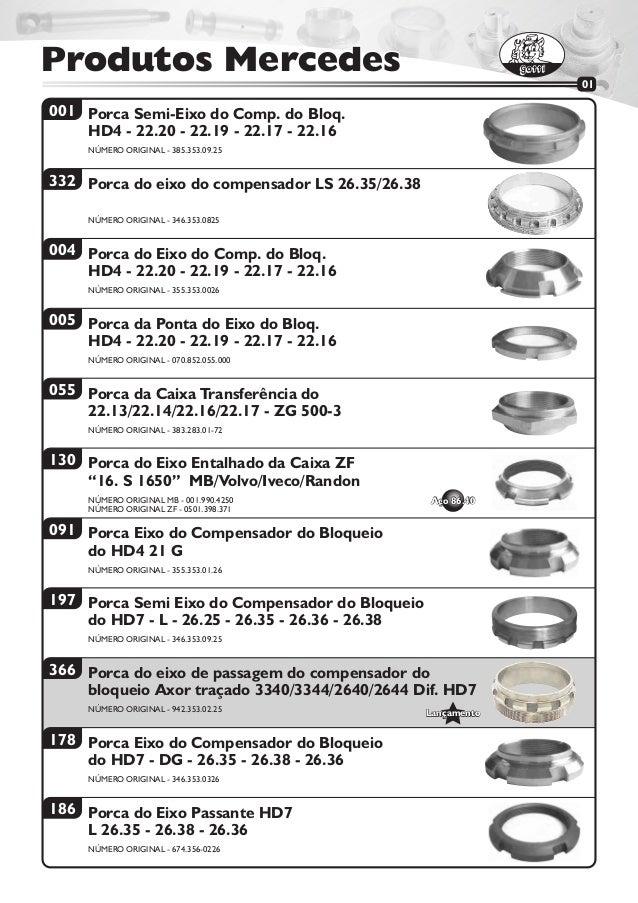 Produtos MercedesProdutos Mercedes 001 332 004 005 055 130 091 197 178 186 Porca Semi-Eixo do Comp. do Bloq. HD4 - 22.20 -...