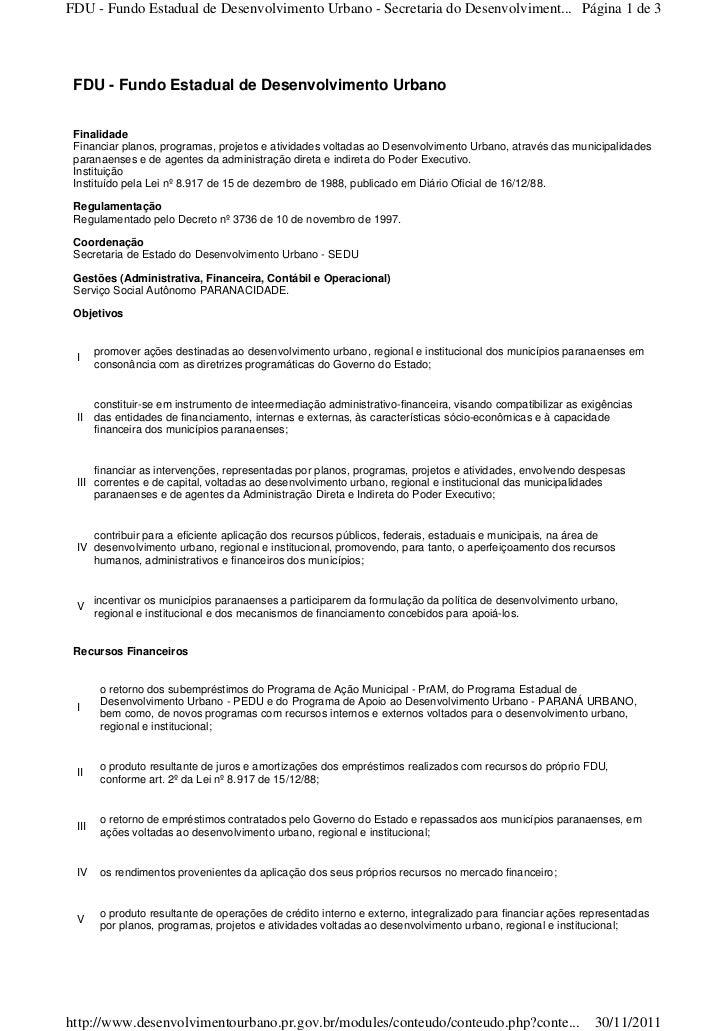 FDU - Fundo Estadual de Desenvolvimento Urbano - Secretaria do Desenvolviment... Página 1 de 3 FDU - Fundo Estadual de Des...