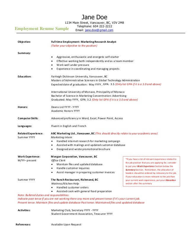 employment resume sample jane doe 1234 main street vancouver bc v3v 2m8 telephone 604 222 - Employment Resume Samples