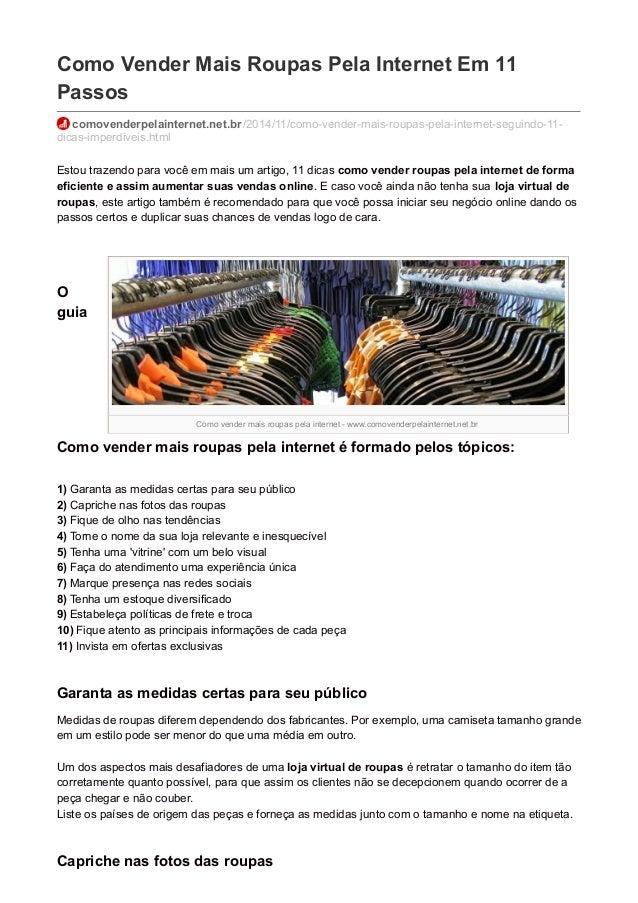 Como vender mais roupas pela internet - www.comovenderpelainternet.net.br Como Vender Mais Roupas Pela Internet Em 11 Pass...