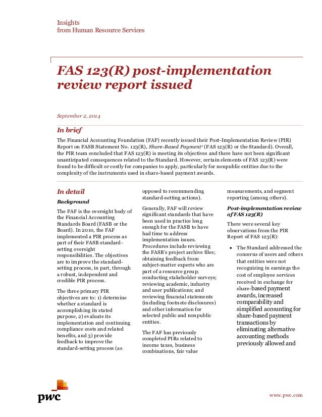 pwc-fas-123r-post-implementation-review-report-issued